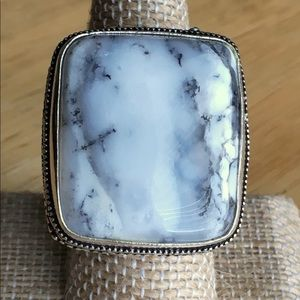 Dendritic Opal Stone Statement Ring Size 8.75 - 9